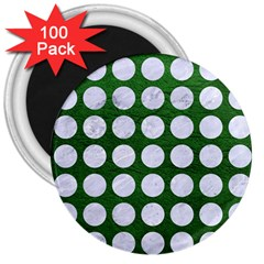 Circles1 White Marble & Green Leather 3  Magnets (100 Pack)