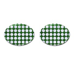 Circles1 White Marble & Green Leather Cufflinks (oval) by trendistuff