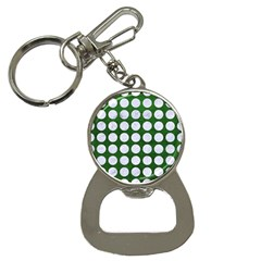Circles1 White Marble & Green Leather Bottle Opener Key Chains