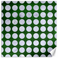 Circles1 White Marble & Green Leather Canvas 12  X 12   by trendistuff