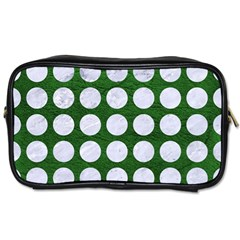 Circles1 White Marble & Green Leather Toiletries Bags