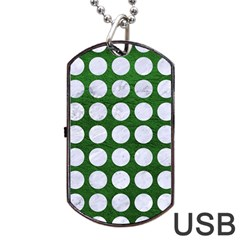 Circles1 White Marble & Green Leather Dog Tag Usb Flash (one Side)