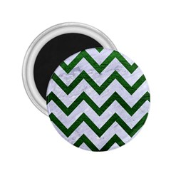 Chevron9 White Marble & Green Leather (r) 2 25  Magnets