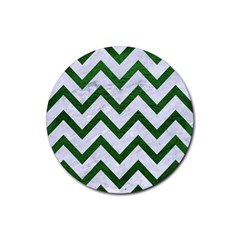 Chevron9 White Marble & Green Leather (r) Rubber Round Coaster (4 Pack)