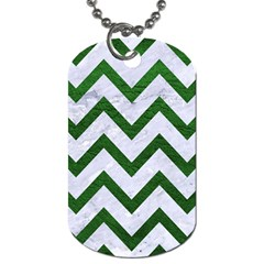 Chevron9 White Marble & Green Leather (r) Dog Tag (one Side)
