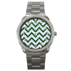 Chevron9 White Marble & Green Leather (r) Sport Metal Watch
