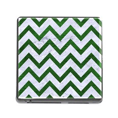 Chevron9 White Marble & Green Leather (r) Memory Card Reader (square 5 Slot)