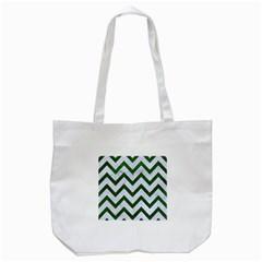Chevron9 White Marble & Green Leather (r) Tote Bag (white)