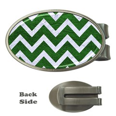 Chevron9 White Marble & Green Leather Money Clips (oval)