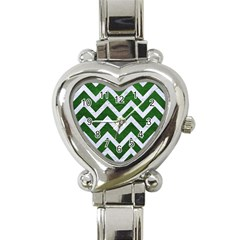 Chevron9 White Marble & Green Leather Heart Italian Charm Watch