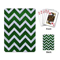 Chevron9 White Marble & Green Leather Playing Card