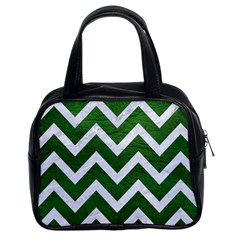 Chevron9 White Marble & Green Leather Classic Handbags (2 Sides)