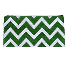 Chevron9 White Marble & Green Leather Pencil Cases