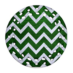 Chevron9 White Marble & Green Leather Ornament (round Filigree)