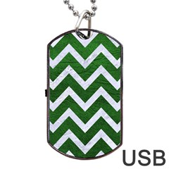 Chevron9 White Marble & Green Leather Dog Tag Usb Flash (two Sides)