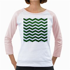 Chevron3 White Marble & Green Leather Girly Raglan