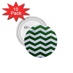 Chevron3 White Marble & Green Leather 1 75  Buttons (10 Pack)