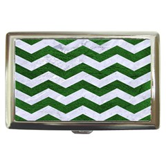 Chevron3 White Marble & Green Leather Cigarette Money Cases