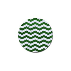 Chevron3 White Marble & Green Leather Golf Ball Marker (4 Pack)