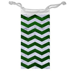 Chevron3 White Marble & Green Leather Jewelry Bags