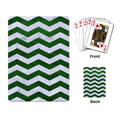 Chevron3 White Marble & Green Leather Playing Card