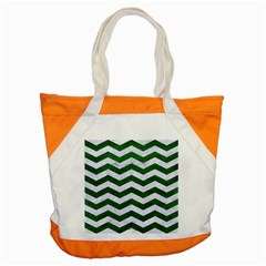 Chevron3 White Marble & Green Leather Accent Tote Bag