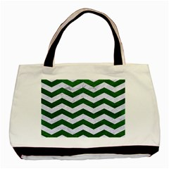 Chevron3 White Marble & Green Leather Basic Tote Bag (two Sides)