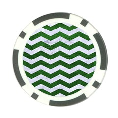 Chevron3 White Marble & Green Leather Poker Chip Card Guard