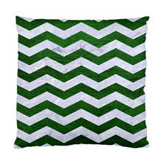 Chevron3 White Marble & Green Leather Standard Cushion Case (one Side)