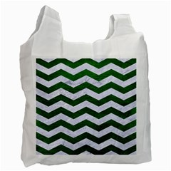 Chevron3 White Marble & Green Leather Recycle Bag (two Side)