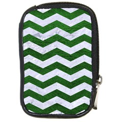 Chevron3 White Marble & Green Leather Compact Camera Cases by trendistuff