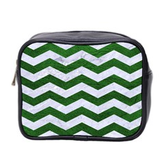Chevron3 White Marble & Green Leather Mini Toiletries Bag 2 Side