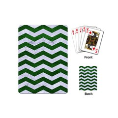 Chevron3 White Marble & Green Leather Playing Cards (mini)