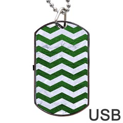 Chevron3 White Marble & Green Leather Dog Tag Usb Flash (one Side)