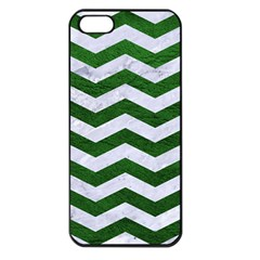 Chevron3 White Marble & Green Leather Apple Iphone 5 Seamless Case (black)