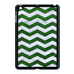 Chevron3 White Marble & Green Leather Apple Ipad Mini Case (black)