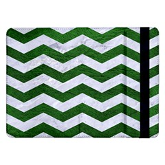 Chevron3 White Marble & Green Leather Samsung Galaxy Tab Pro 12 2  Flip Case