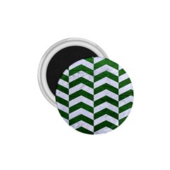 Chevron2 White Marble & Green Leather 1 75  Magnets