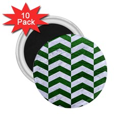 Chevron2 White Marble & Green Leather 2 25  Magnets (10 Pack)
