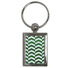 Chevron2 White Marble & Green Leather Key Chains (rectangle)
