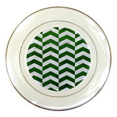 Chevron2 White Marble & Green Leather Porcelain Plates