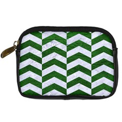 Chevron2 White Marble & Green Leather Digital Camera Cases