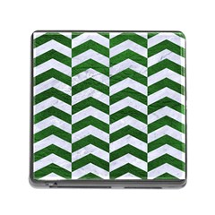 Chevron2 White Marble & Green Leather Memory Card Reader (square 5 Slot)