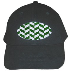 Chevron1 White Marble & Green Leather Black Cap by trendistuff