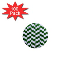Chevron1 White Marble & Green Leather 1  Mini Magnets (100 Pack)