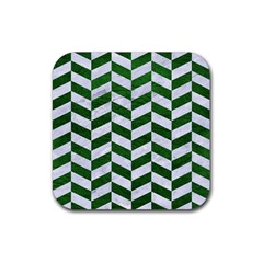 Chevron1 White Marble & Green Leather Rubber Coaster (square)
