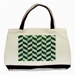 Chevron1 White Marble & Green Leather Basic Tote Bag by trendistuff