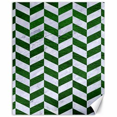 Chevron1 White Marble & Green Leather Canvas 16  X 20