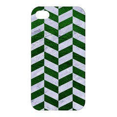 Chevron1 White Marble & Green Leather Apple Iphone 4/4s Premium Hardshell Case