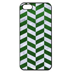 Chevron1 White Marble & Green Leather Apple Iphone 5 Seamless Case (black)